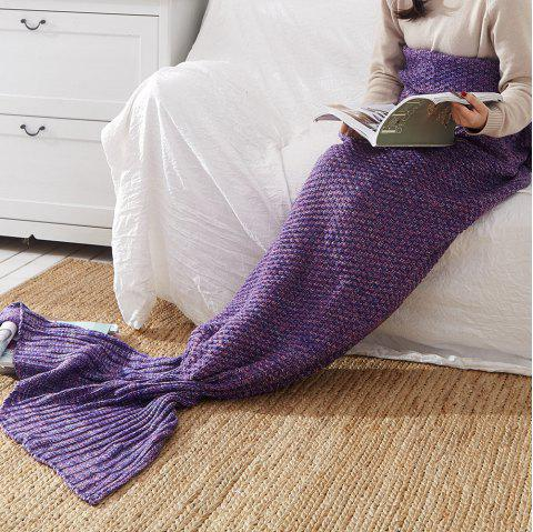 New Children Adult Contracted Mermaid Tail Blanket - PURPLE 50CM X 90CM