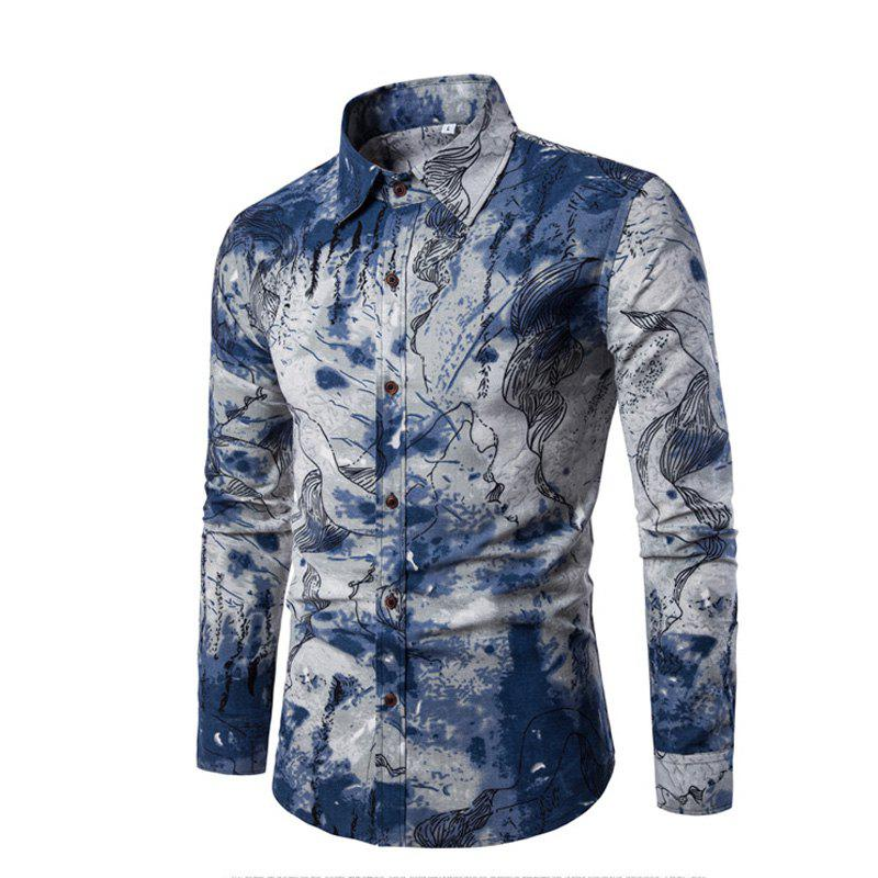 Men Long-Sleeved Printed Shirts Plus Sizes