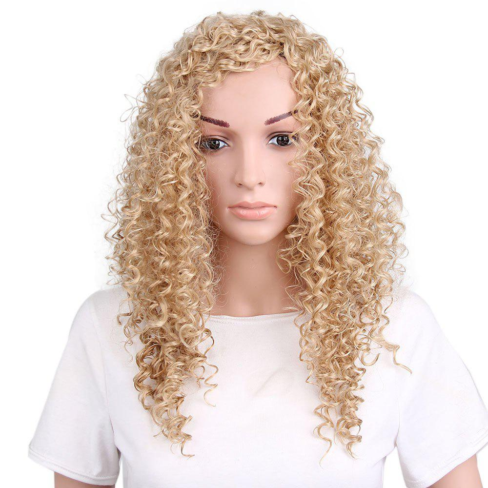 Women Fashion Style Kinky Curly Blonde Long Synthetic Hair Wig for Party kinky curly african american wigs for black women synthetic ombre lacefront wig natural black ombre blonde cosplay celebrity wig