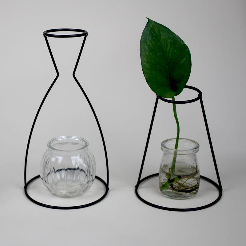 Manufacturer Hot Style Black Creative Iron Art Put Aside Glass Vases To Simulate Flower and Flower Ornaments - BLACKL