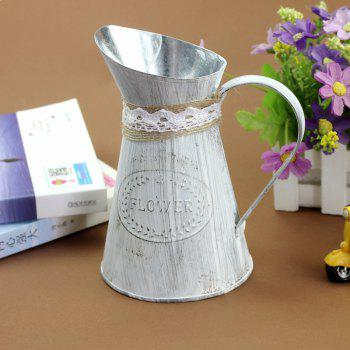 The Old Metal Flower-Pot Flower Shop Furnishing The Old Metal Flower-Pot Flower Pot Creative Photography Props - SILVER/WHITE