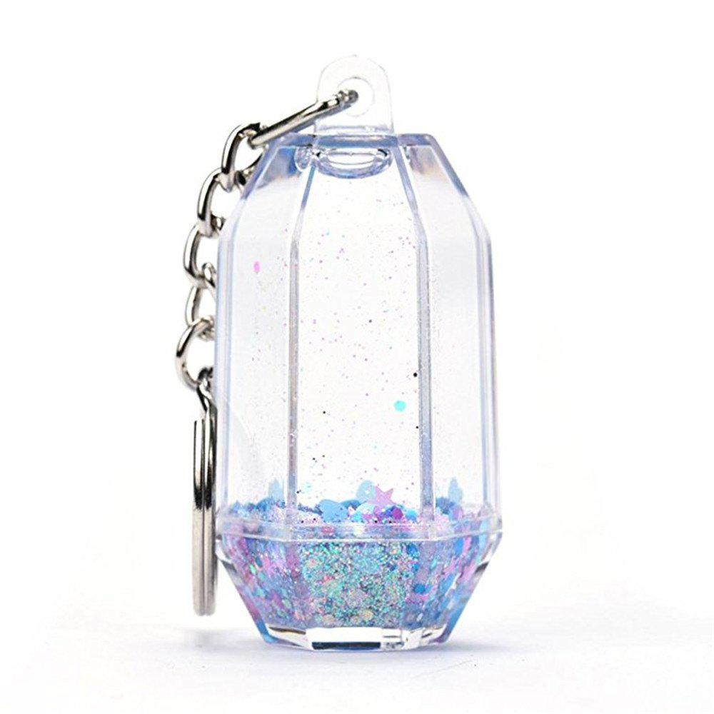 Water Key Ring Creative Design Flowing Floating Moving Water With Glitter Hard PC Clear Keychain sanrenmu sk009d lucky number 9 carabiner with key ring