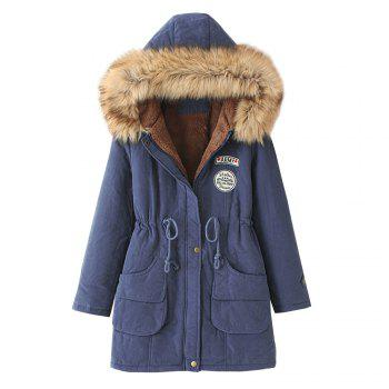 Women'S Quilted Coat Thicken Warmth Hooded Slim Coat - CADETBLUE CADETBLUE