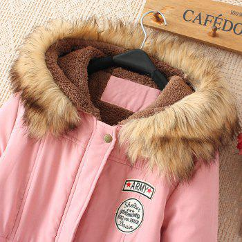 Women's Hooded Drawstring Elastic Waist Front Pokets Thicken Coat - PINK S