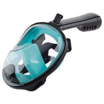 Full Face Snorkel Mask with Panoramic View Anti-Fog Anti-Leak Anti-vertigo Design 180 Degrees Viewing visual field - BLACK/GREEN S/M