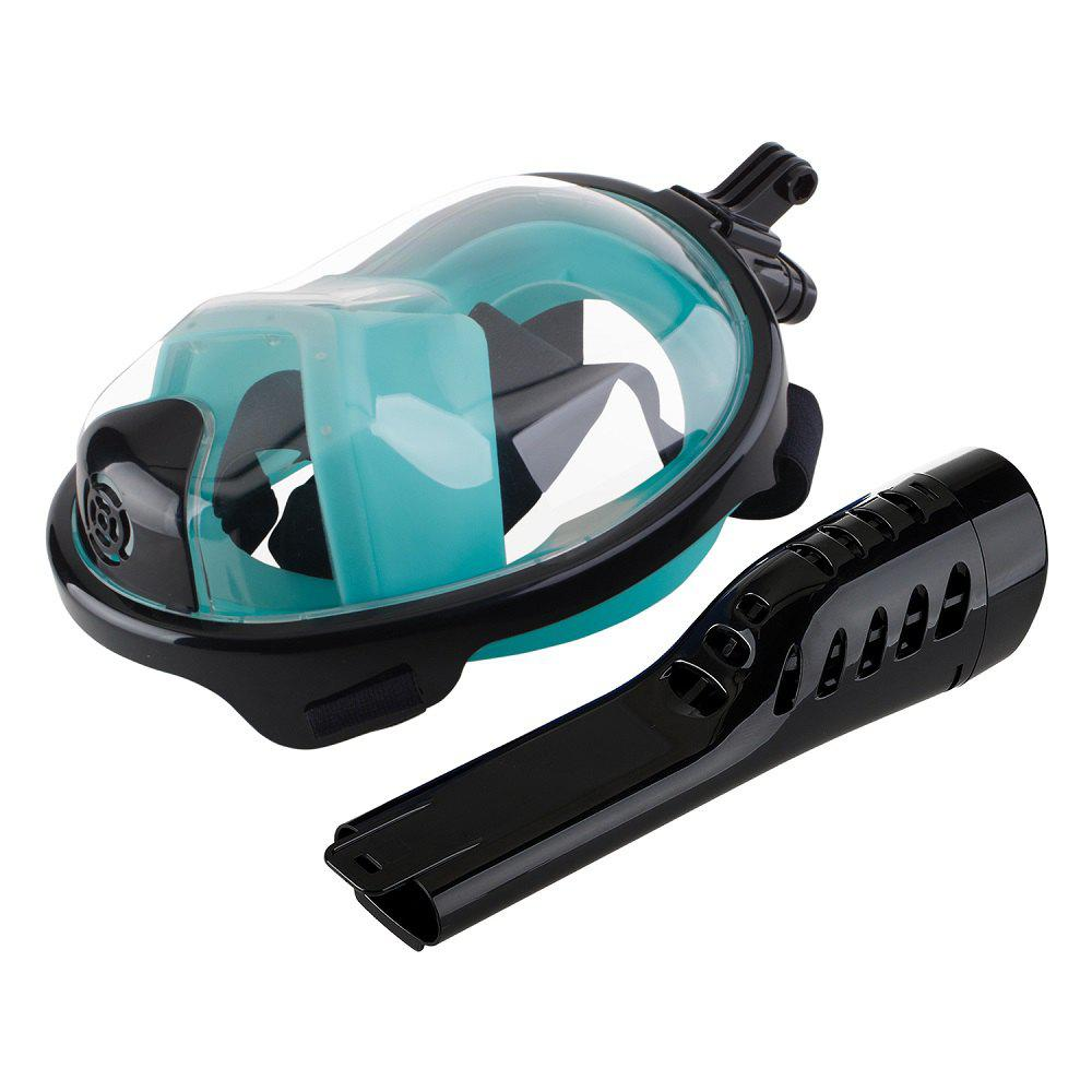 Full Face Snorkel Mask with Panoramic View Anti-Fog Anti-Leak Anti-vertigo Design 180 Degrees Viewing visual field - BLACK/GREEN L/XL