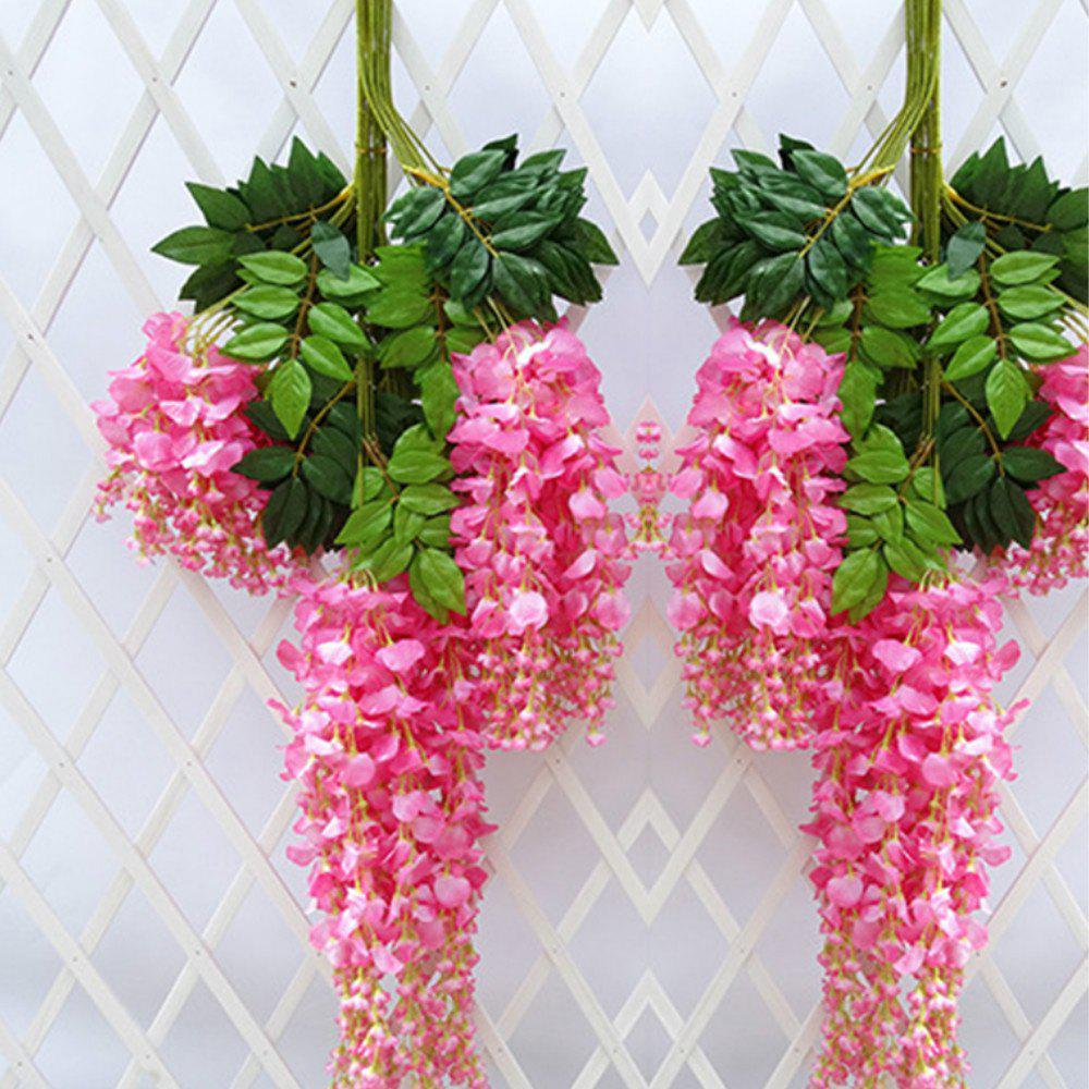 12pcs/lot 110cm Artificial Flower Hanging Plant Silk Wisteria Fake  Vine Rattan Wedding Decoration Home Garden Ornamenta - PINK