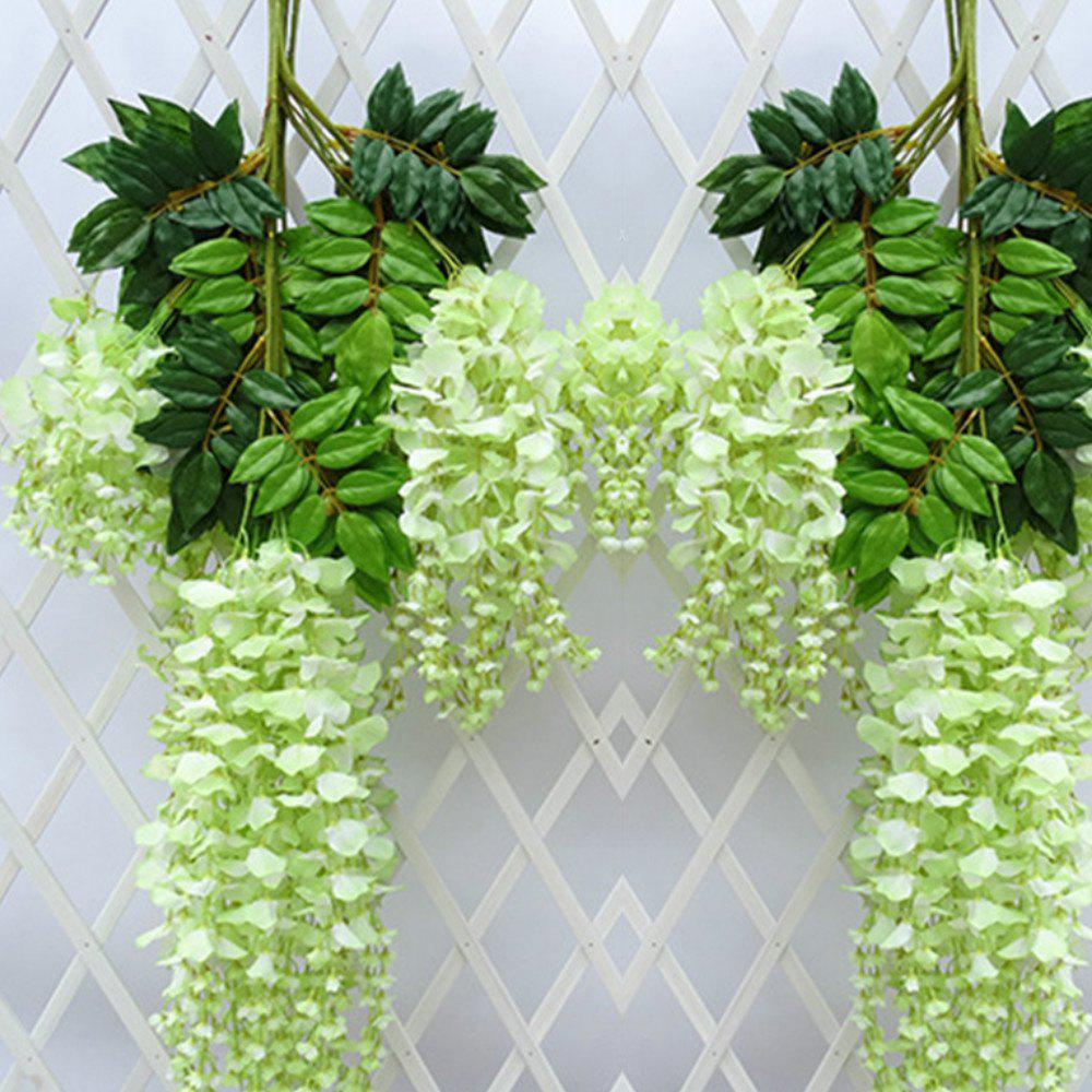 12pcs/lot 110cm Artificial Flower Hanging Plant Silk Wisteria Fake  Vine Rattan Wedding Decoration Home Garden Ornamenta - GREEN
