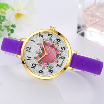 GAIETY G282 Ladies Fashion Rose Heart Silicone Quartz Wrist Watch - PURPLE