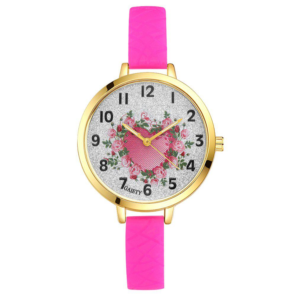 GAIETY G282 Ladies Fashion Rose Heart Silicone Quartz Wrist Watch - ROSE