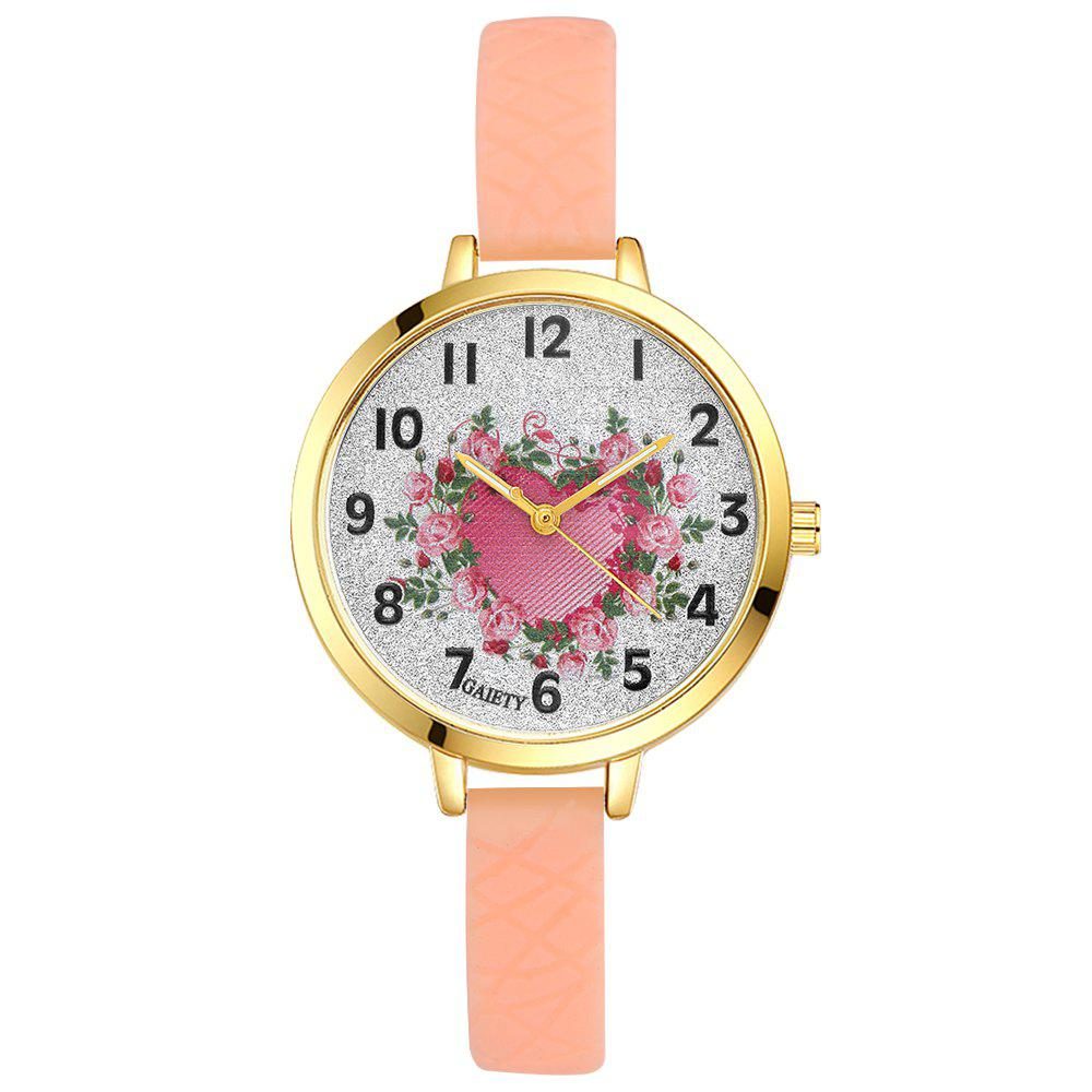 GAIETY G282 Ladies Fashion Rose Heart Silicone Quartz Wrist Watch - BEIGE