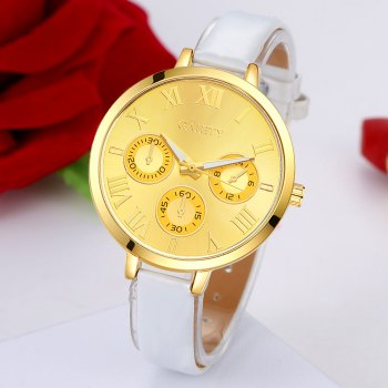 GAIETY G224 Gold 3-Eye Dial Leather Belt Dress Watch - WHITE