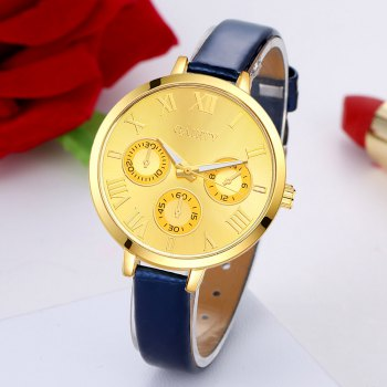 GAIETY G224 Gold 3-Eye Dial Leather Belt Dress Watch - ROSE RED
