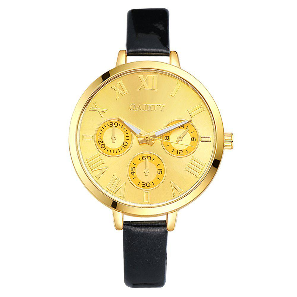 GAIETY G224 Gold 3-Eye Dial Leather Belt Dress Watch - BLACK