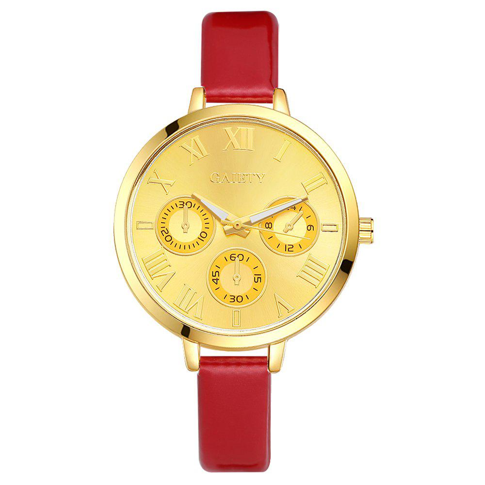 GAIETY G224 Gold 3-Eye Dial Leather Belt Dress Watch - RED
