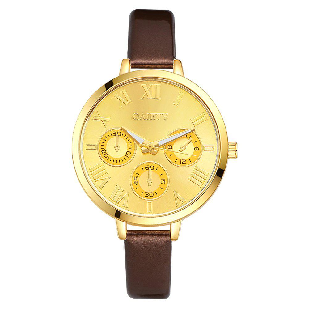 GAIETY G224 Gold 3-Eye Dial Leather Belt Dress Watch - BROWN