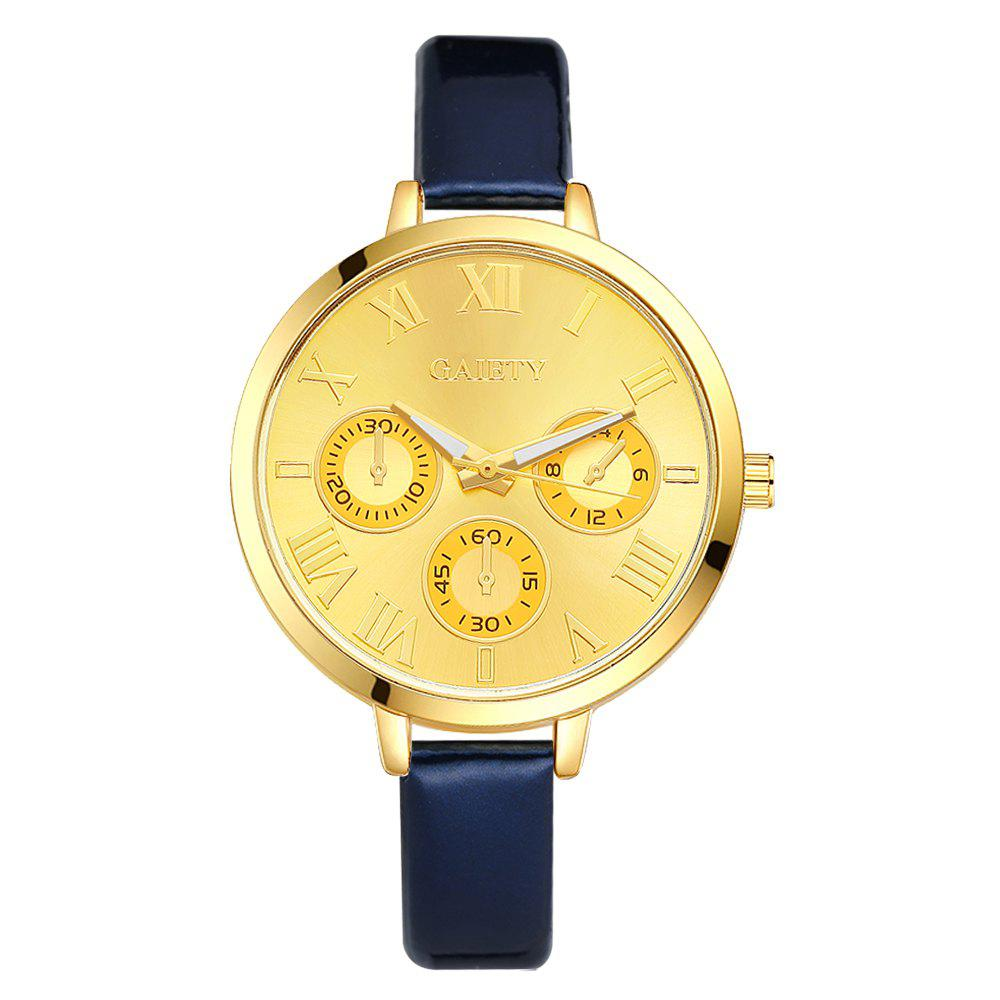 GAIETY G224 Gold 3-Eye Dial Leather Belt Dress Watch - BLUE