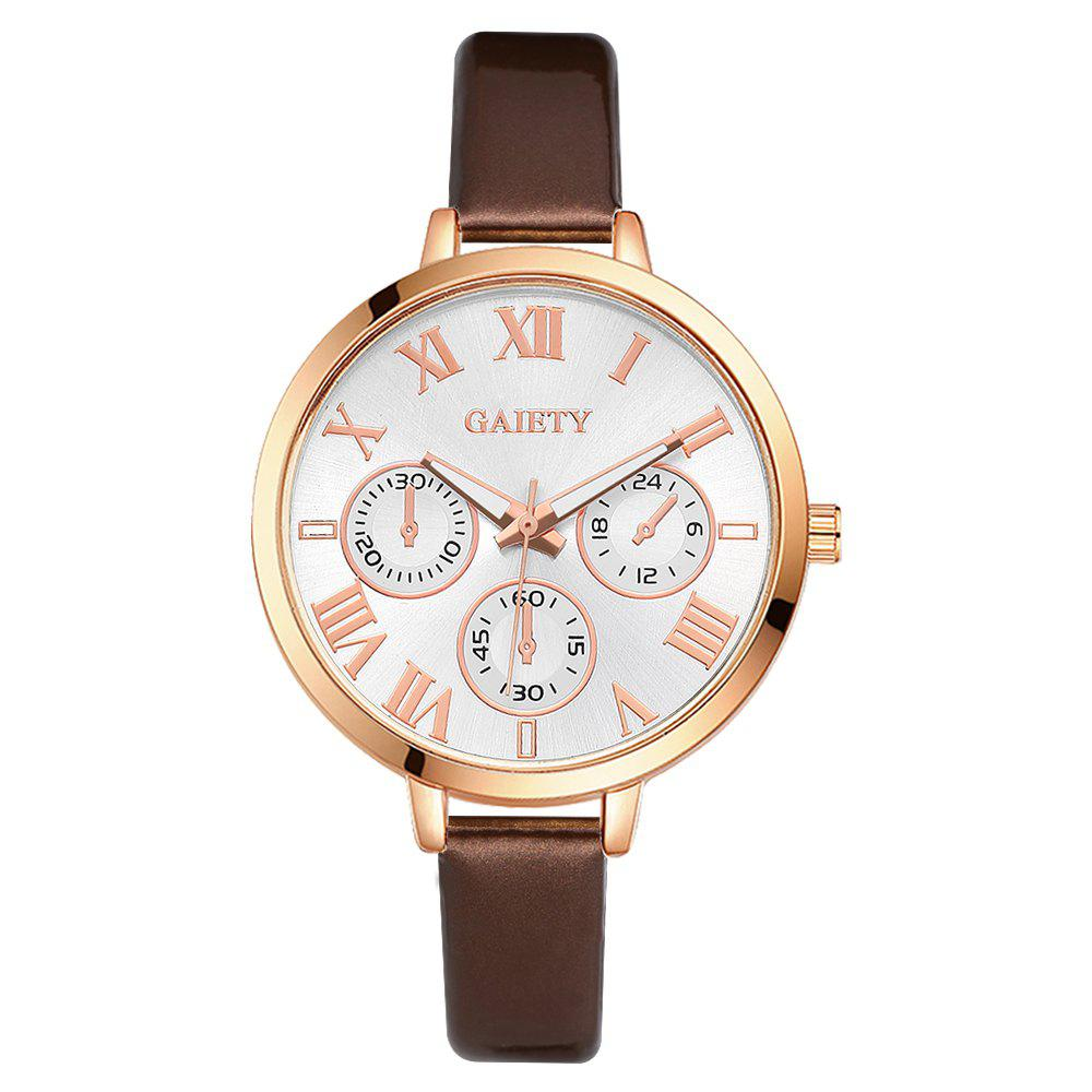 GAIETY G225 Women Fashion Dial Dress Leather Strap Watch - BROWN