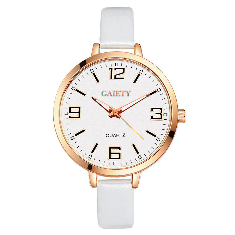 GAIETY G228 Women Leather Watch - WHITE