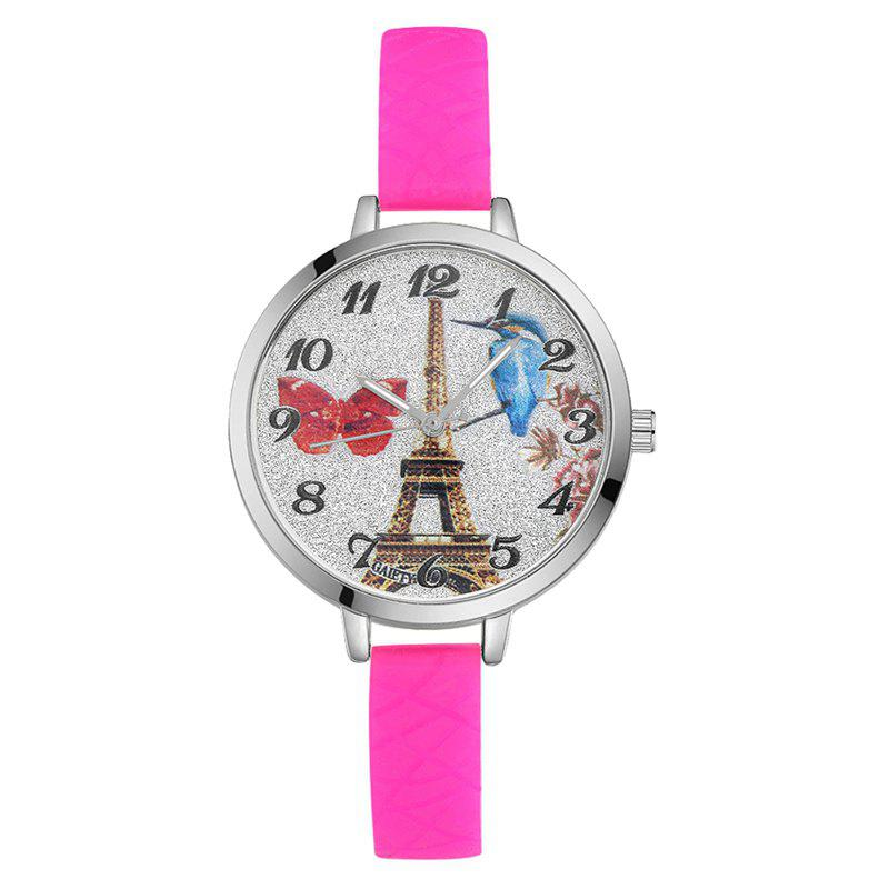 GAIETY G293 Ladies Fashion Tower Analog Quartz Silicone Wrist Watch - ROSE