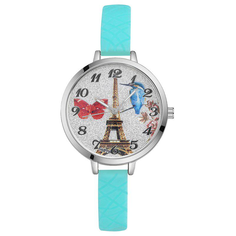 GAIETY G293 Ladies Fashion Tower Analog Quartz Silicone Wrist Watch - SKY BLUE