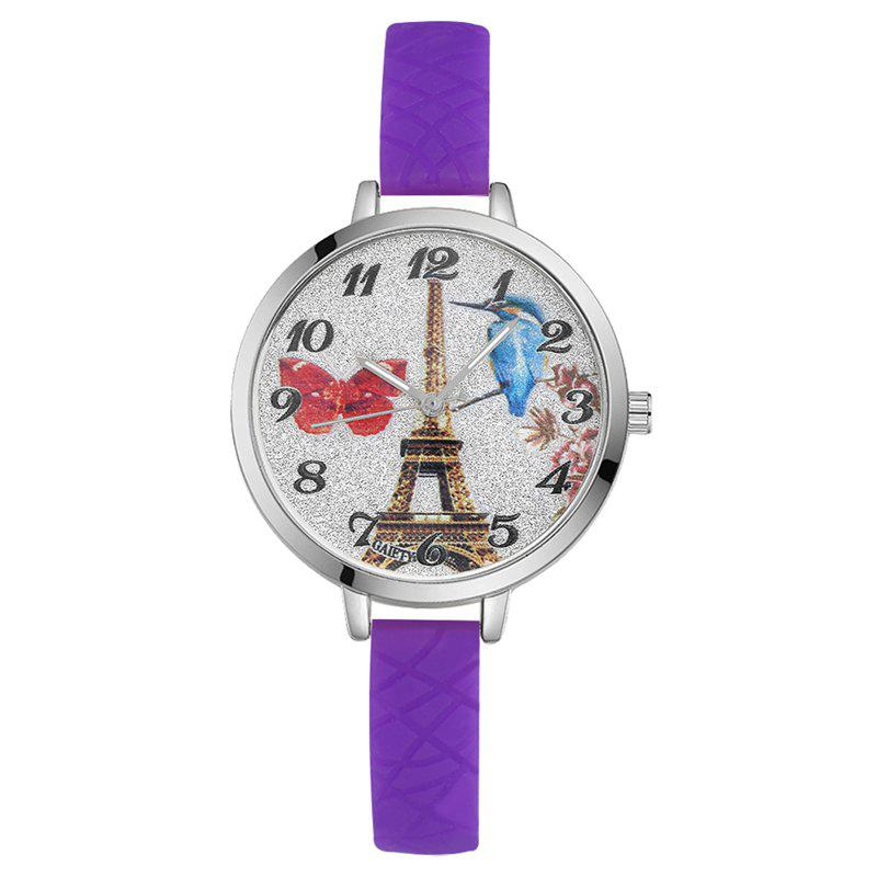 GAIETY G293 Ladies Fashion Tower Analog Quartz Silicone Wrist Watch - PURPLE