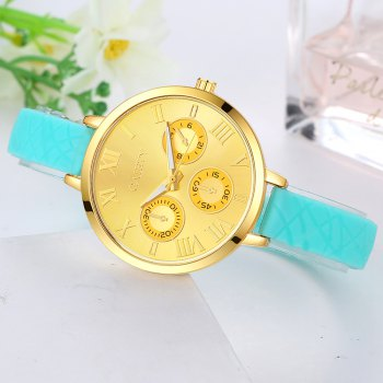 GAIETY G294 Women Roman Numbers Silicone Sports Wrist Watch - SKY BLUE