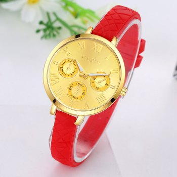 GAIETY G294 Women Roman Numbers Silicone Sports Wrist Watch - RED
