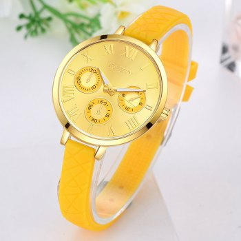 GAIETY G294 Women Roman Numbers Silicone Sports Wrist Watch - YELLOW