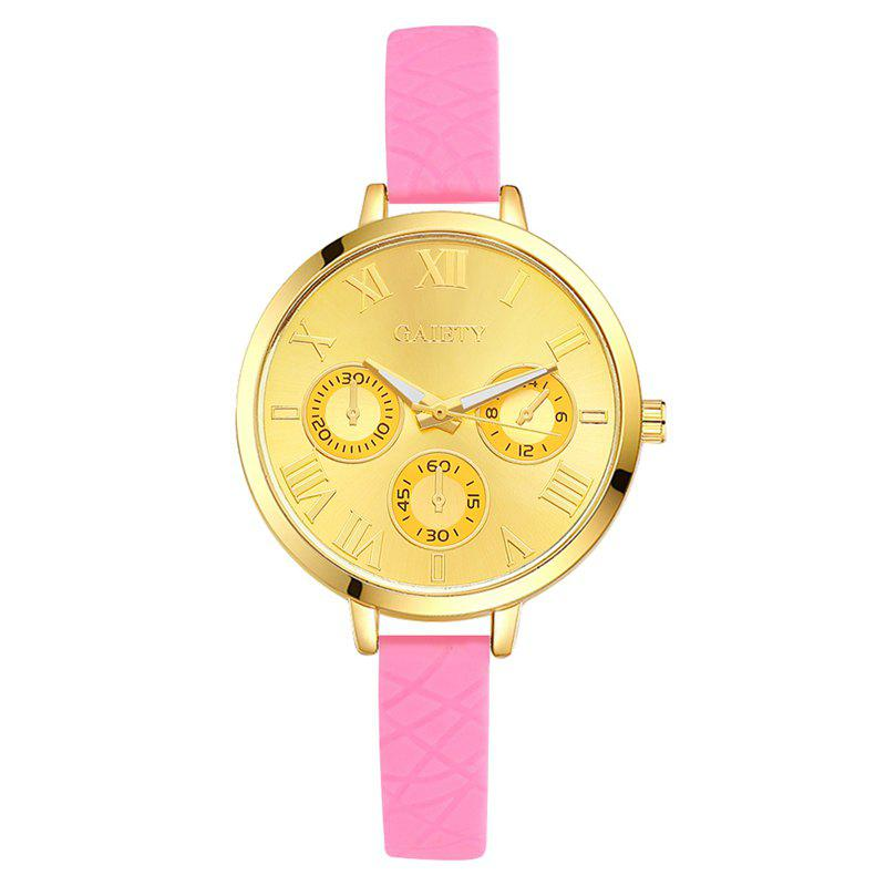 GAIETY G294 Women Roman Numbers Silicone Sports Wrist Watch - PINK