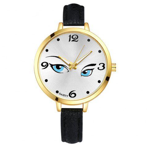 GAIETY G300 Women Fashion Leather Watch - BLACK