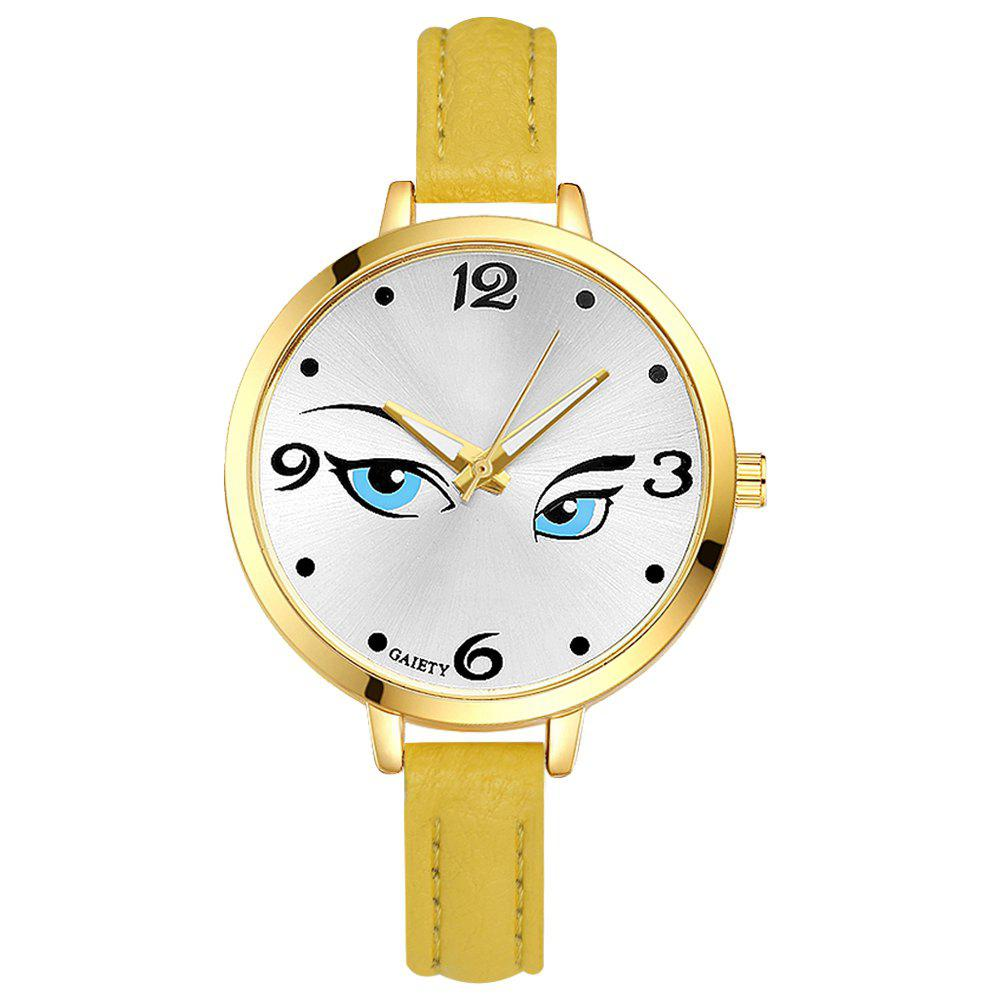 GAIETY G300 Women Fashion Leather Watch - YELLOW
