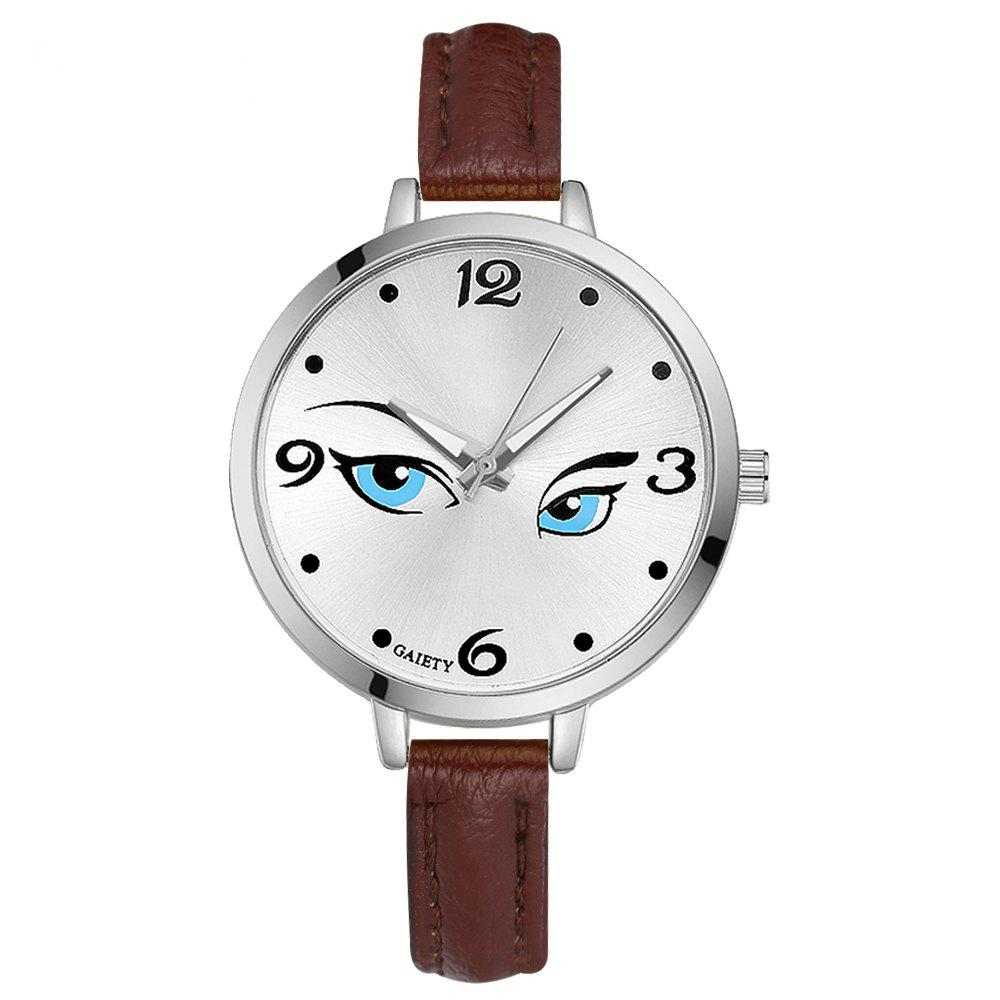 GAIETY G302 Fashion Silver Leather Watch - BROWN
