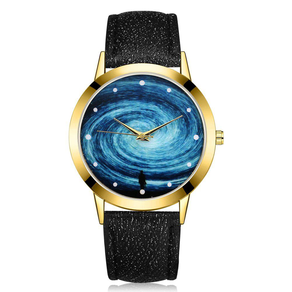 GAIETY G380 Golden Bezel Starry Sky Dial Leather Band Quartz Watch gaiety g385 women s starry sky face leather band quartz watch
