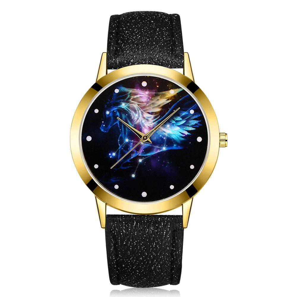 GAIETY G379 Women Starry Sky Face Leather Watch gaiety g385 women s starry sky face leather band quartz watch