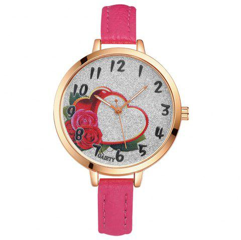 GAIETY G313 Women Leather Fashion Watch - ROSE RED