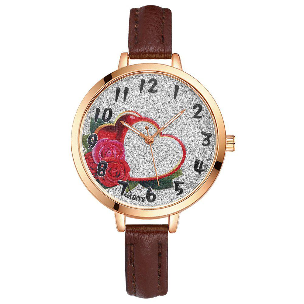 GAIETY G313 Women Leather Fashion Watch - BROWN