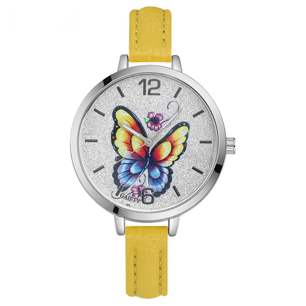 GAIETY G317 Women Fashion Leather Watch - YELLOW