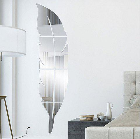 Acrylic Mirror Wall Stickers Feather Shape Mural Decals - SILVER