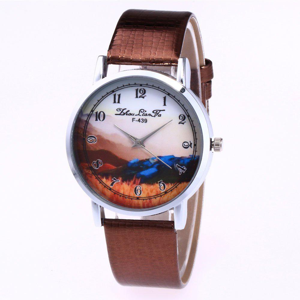 ZhouLianFa Landscape Pattern Creative Women'S Watch Crocodile Pattern Strap Casual Watch with Gift Box - COFFEE