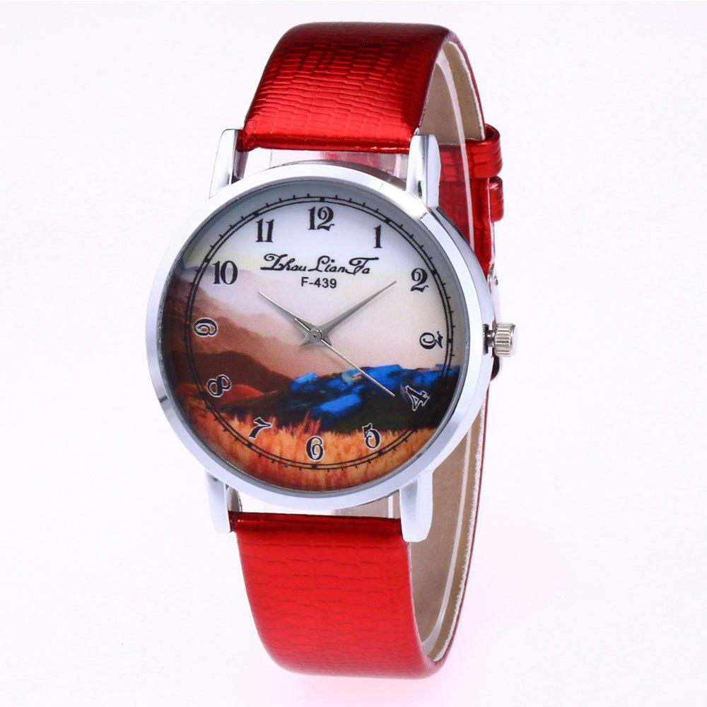 ZhouLianFa Landscape Pattern Creative Women'S Watch Crocodile Pattern Strap Casual Watch with Gift Box - RED