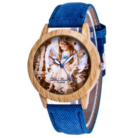 ZhouLianFa The New Trend of Casual Denim Canvas Angel Watch with Gift Box - BLUE