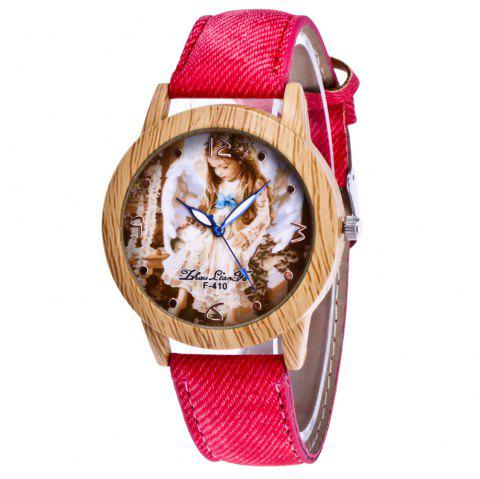 ZhouLianFa The New Trend of Casual Denim Canvas Angel Watch with Gift Box - RED