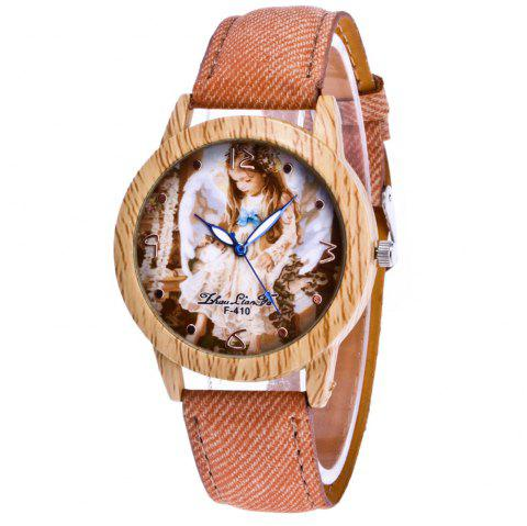 ZhouLianFa The New Trend of Casual Denim Canvas Angel Watch with Gift Box - BEIGE