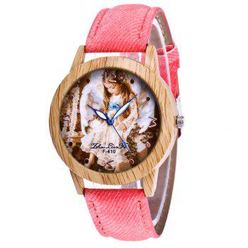 ZhouLianFa The New Trend of Casual Denim Canvas Angel Watch with Gift Box - PINK PINK