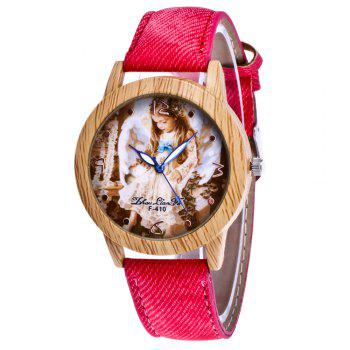 ZhouLianFa The New Trend of Casual Denim Canvas Angel Watch with Gift Box - RED RED