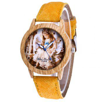 ZhouLianFa The New Trend of Casual Denim Canvas Angel Watch with Gift Box - YELLOW YELLOW