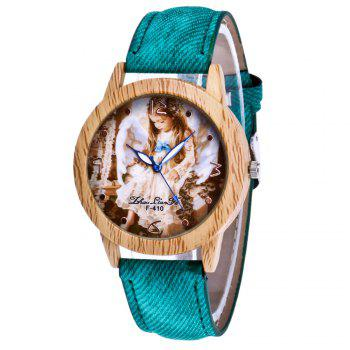 ZhouLianFa The New Trend of Casual Denim Canvas Angel Watch with Gift Box - GREEN GREEN
