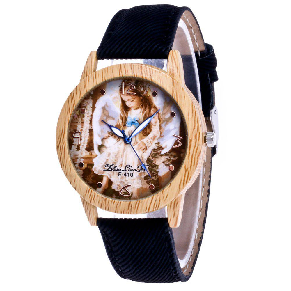 ZhouLianFa The New Trend of Casual Denim Canvas Angel Watch with Gift Box - BLACK