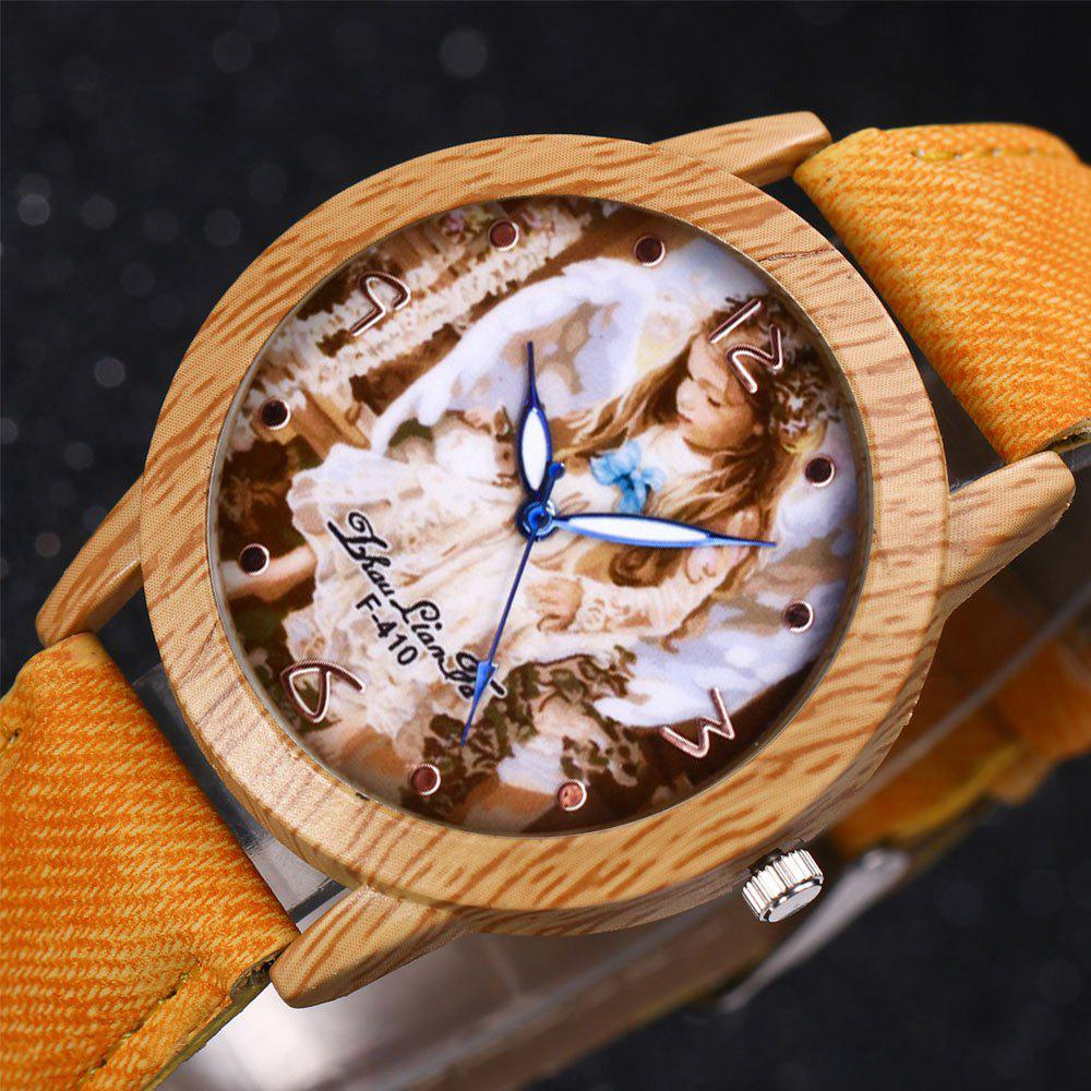 ZhouLianFa The New Trend of Casual Denim Canvas Angel Watch with Gift Box - YELLOW